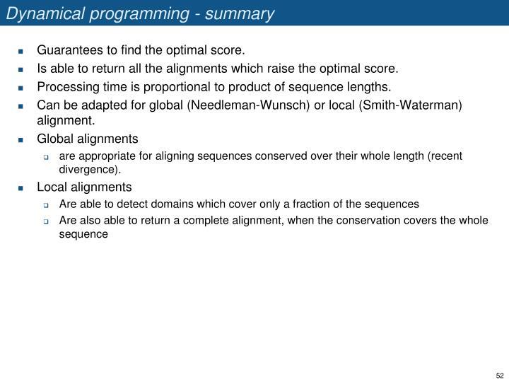 Dynamical programming - summary