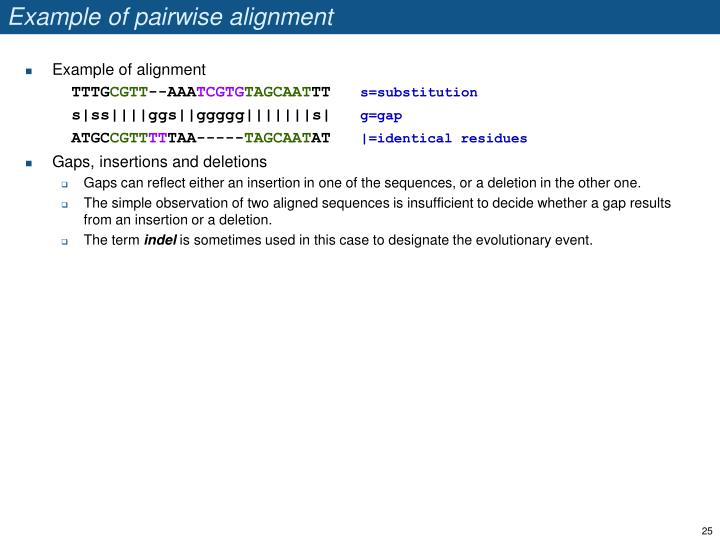 Example of pairwise alignment