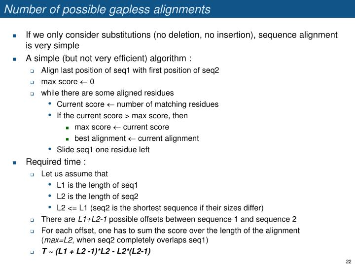 Number of possible gapless alignments