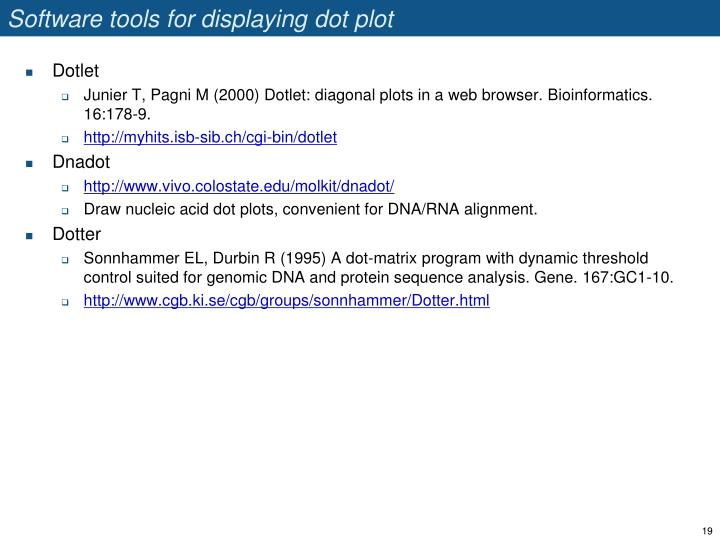 Software tools for displaying dot plot