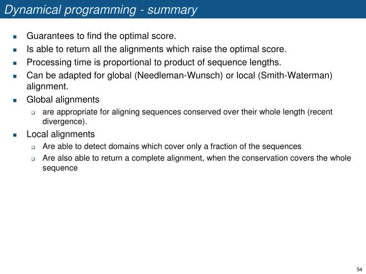 Dynamical programming - summary