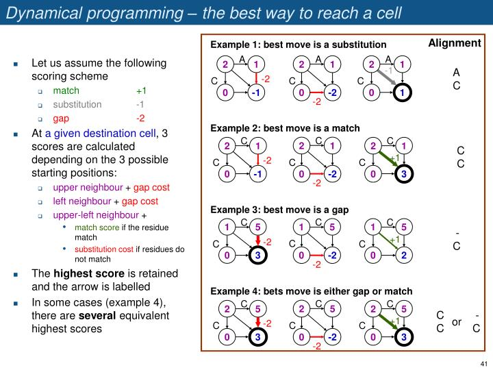 Dynamical programming – the best way to reach a cell