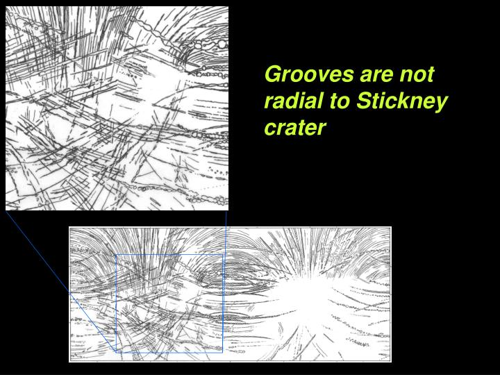 Grooves are not radial to Stickney crater