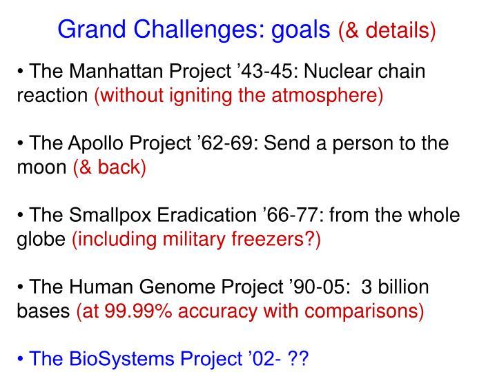 Grand Challenges: goals