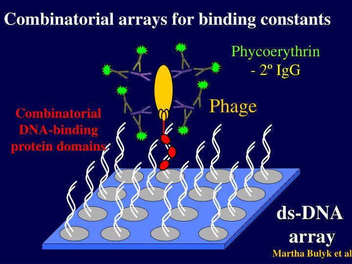 Combinatorial arrays for binding constants