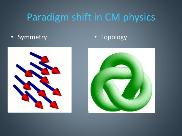 Paradigm shift in CM physics