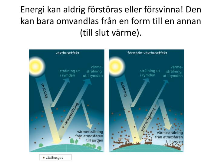 Energi kan aldrig förstöras eller försvinna! Den kan bara omvandlas från en form till en annan (till slut värme).