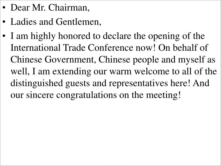 Dear Mr. Chairman,