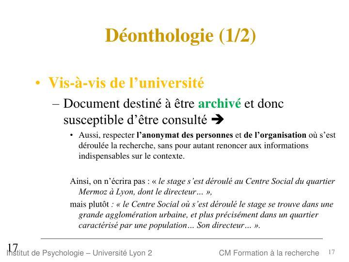 Déonthologie (1/2)