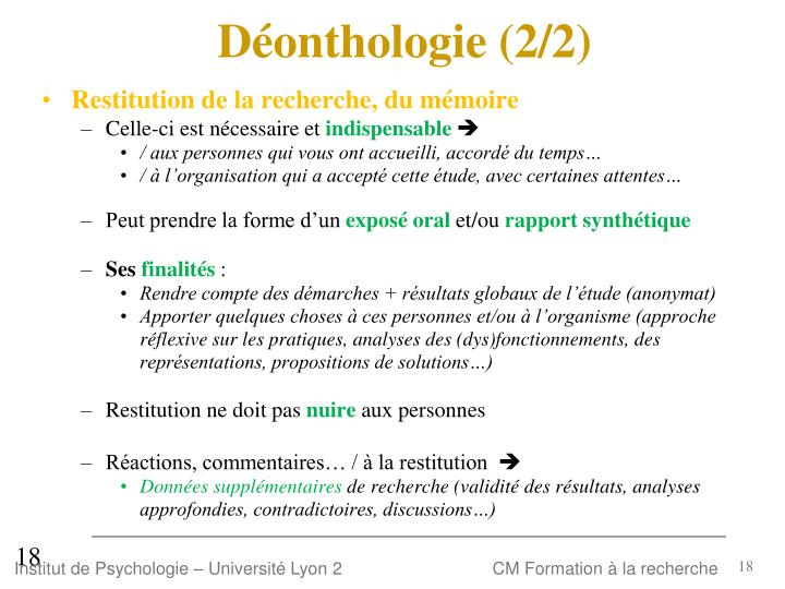 Déonthologie (2/2)