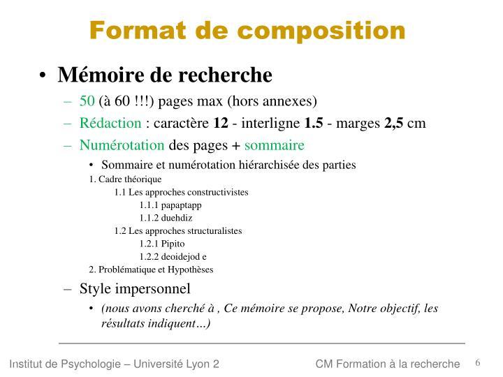 Format de composition