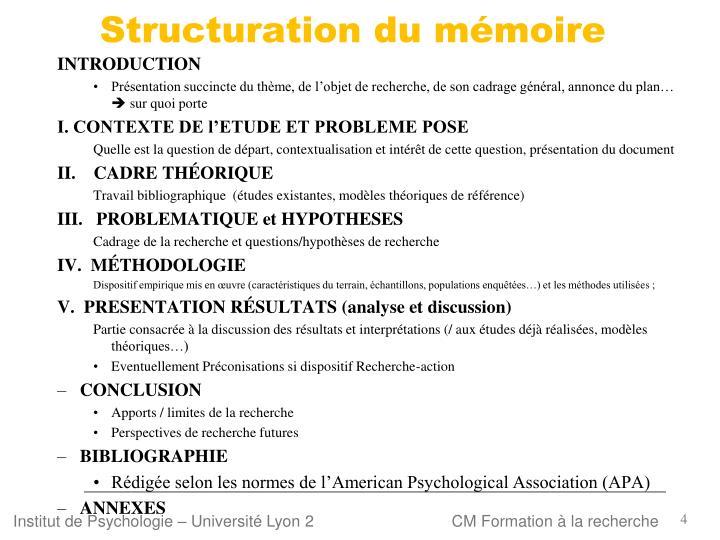 Structuration du mémoire