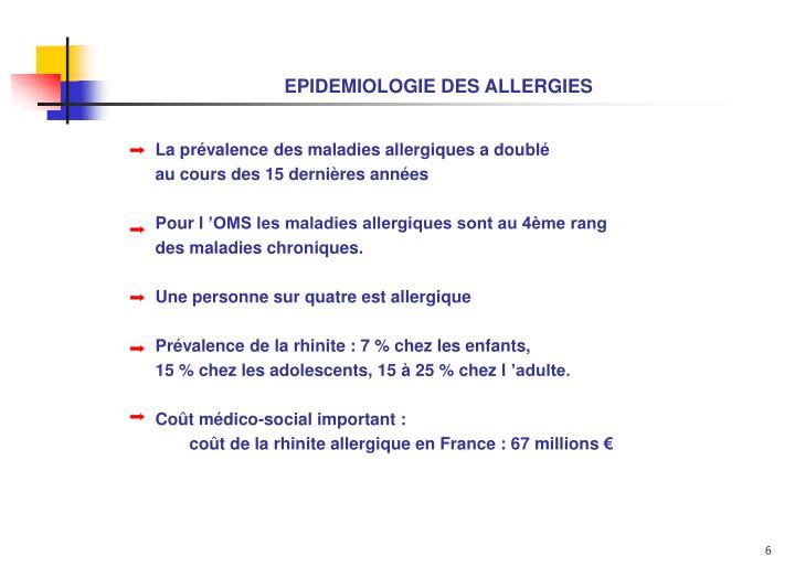 EPIDEMIOLOGIE DES ALLERGIES