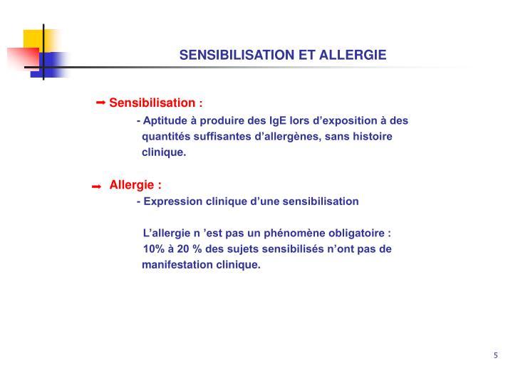 SENSIBILISATION ET ALLERGIE
