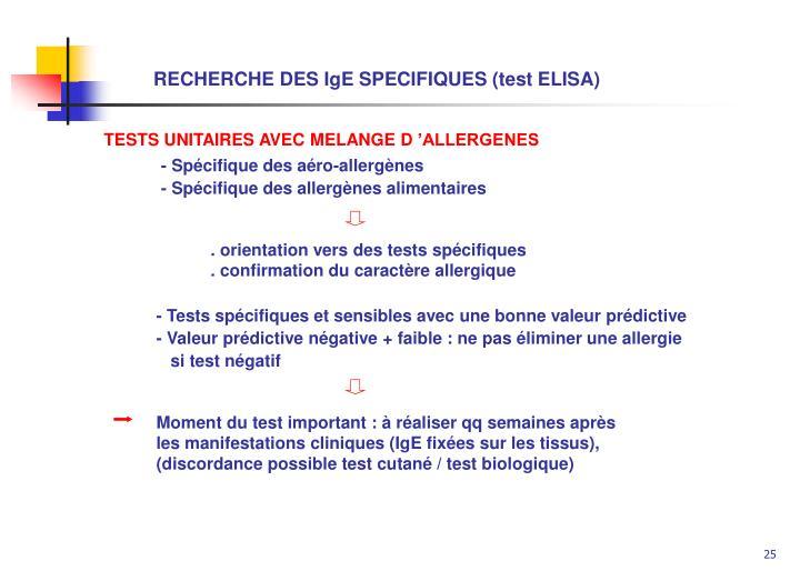 RECHERCHE DES IgE SPECIFIQUES (test ELISA)
