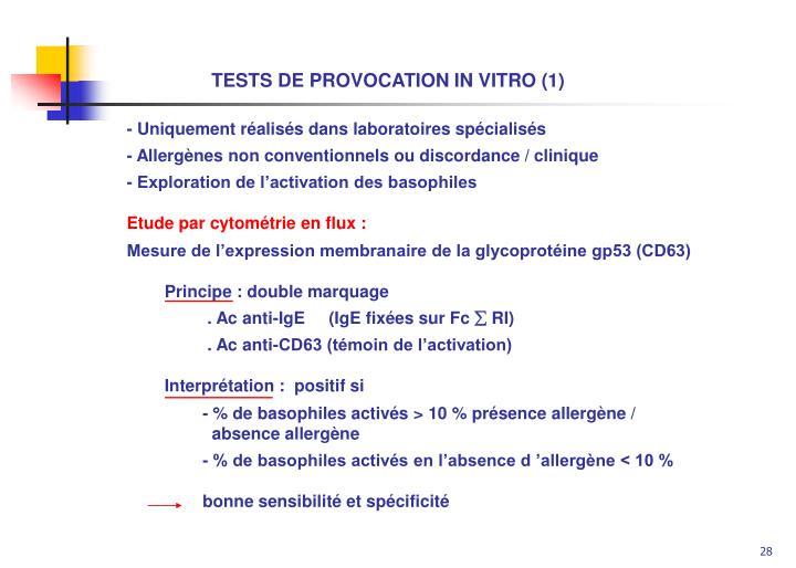 TESTS DE PROVOCATION IN VITRO (1)