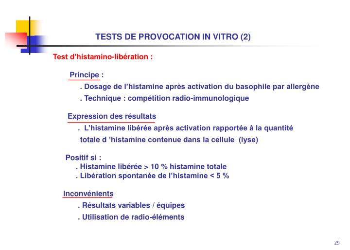 TESTS DE PROVOCATION IN VITRO (2)