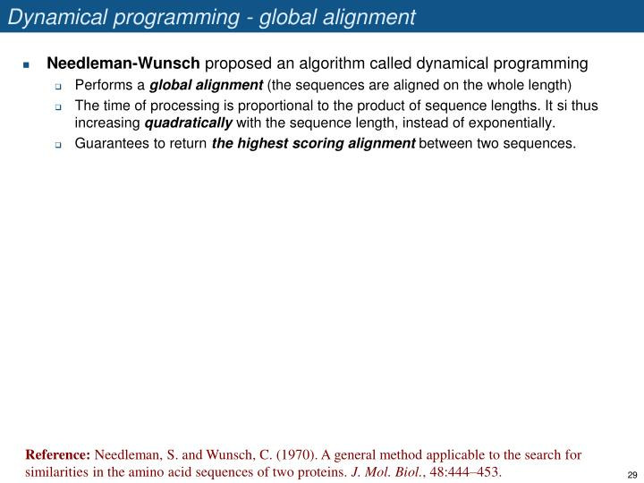 Dynamical programming - global alignment