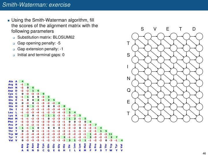 Smith-Waterman: exercise
