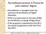 accreditation process in france for joint masters degree
