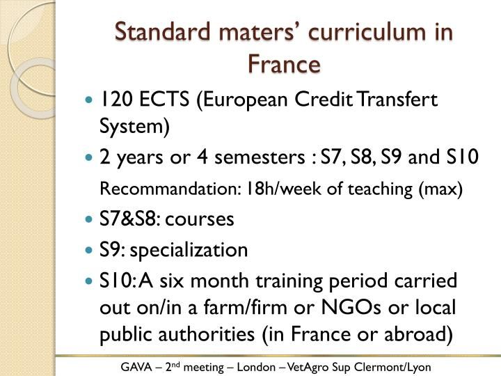 Standard maters' curriculum in France