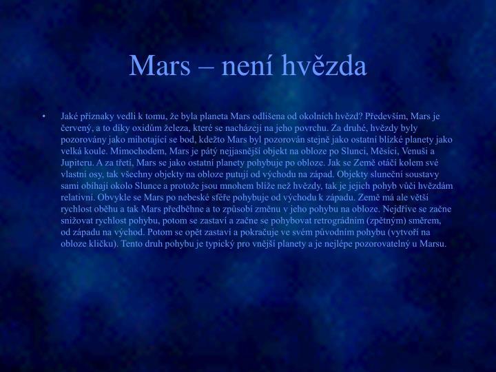 Mars – není hvězda