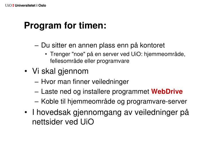 Program for timen: