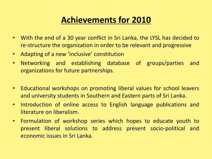 Achievements for 2010