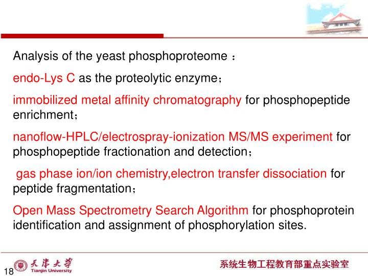 Analysis of the yeast phosphoproteome