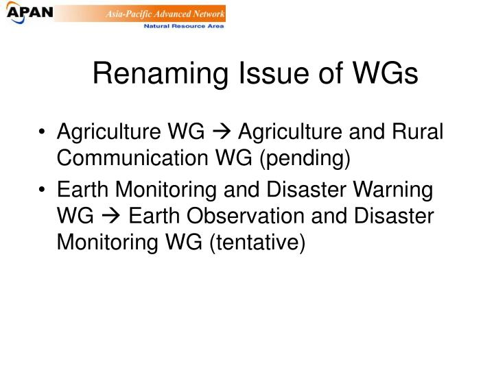 Renaming Issue of WGs