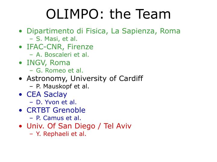 OLIMPO: the Team