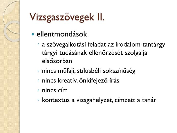 Vizsgaszövegek II.