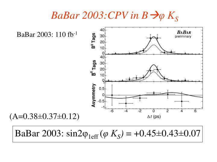BaBar 2003:CPV in B