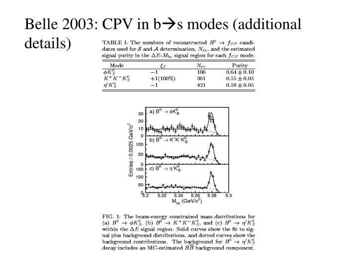 Belle 2003: CPV in b
