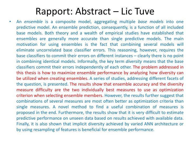 Rapport: Abstract –