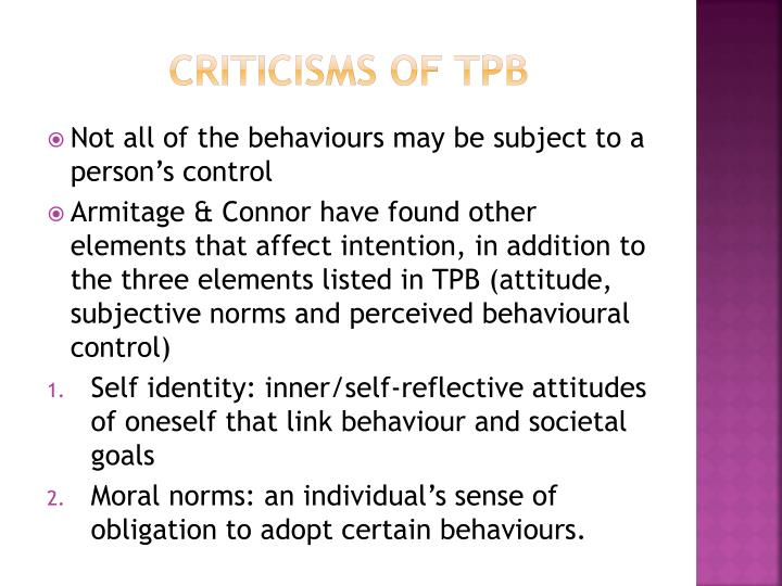 Criticisms of TPB