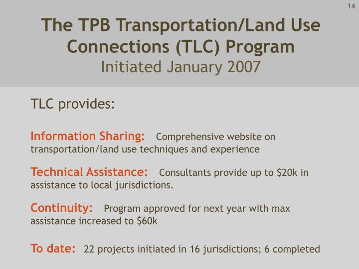 The TPB Transportation/Land Use Connections (TLC) Program
