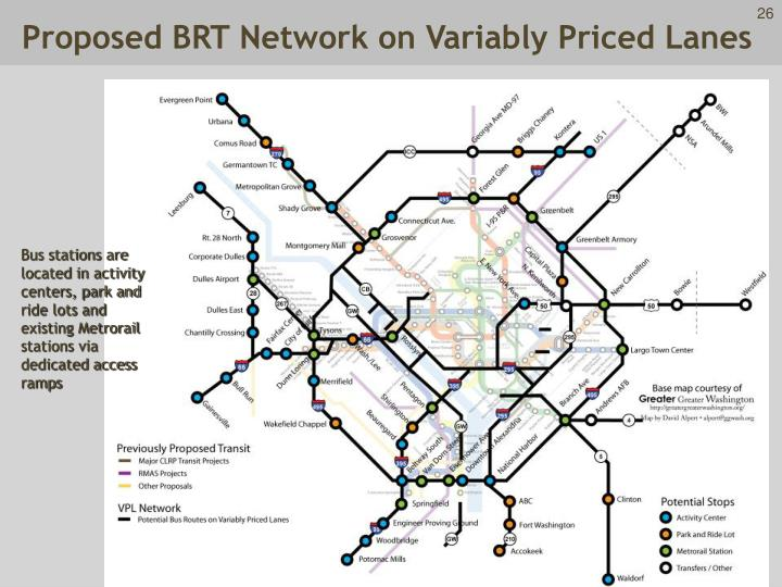 Proposed BRT Network on Variably Priced Lanes