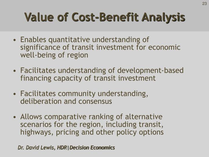 Value of Cost-Benefit Analysis