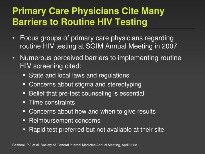 Primary Care Physicians Cite Many Barriers to Routine HIV Testing