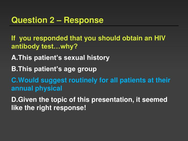 Question 2 – Response