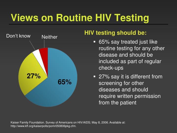 Views on Routine HIV Testing