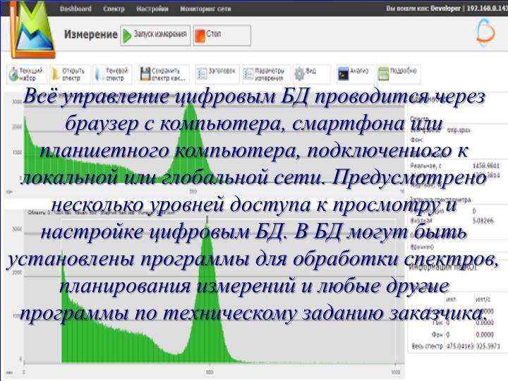 Всё управление цифровым БД проводится через браузер с компьютера, смартфона или планшетного компьютера, подключенного к локальной или глобальной сети. Предусмотрено несколько уровней доступа к просмотру и настройке цифровым БД. В БД могут быть установлены программы для обработки спектров, планирования измерений и любые другие программы по техническому заданию заказчика.