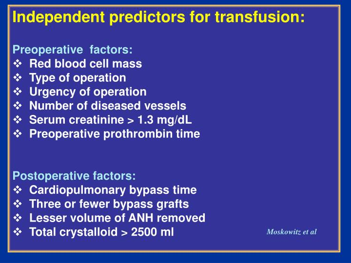Independent predictors for transfusion: