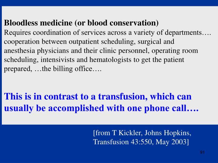 Bloodless medicine (or blood conservation)