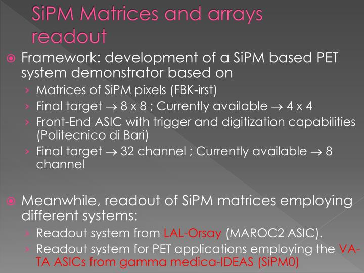SiPM Matrices and arrays readout