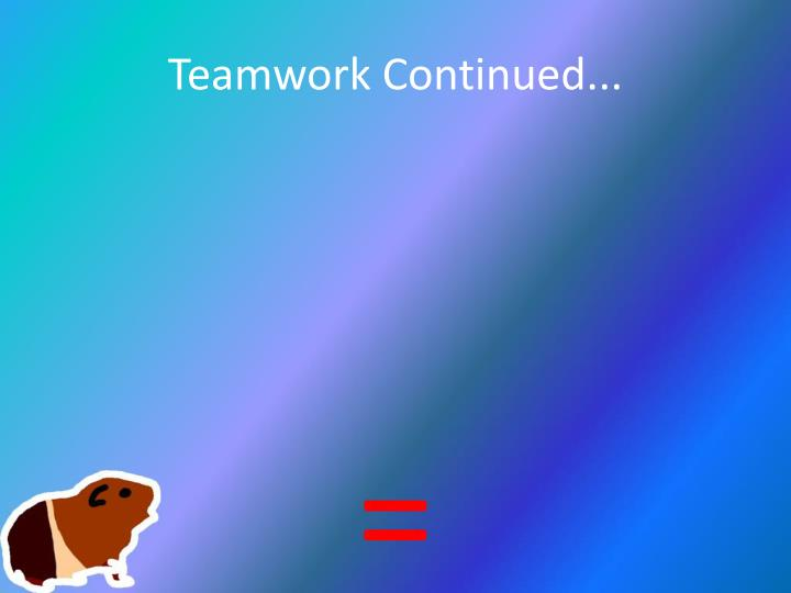 Teamwork Continued...