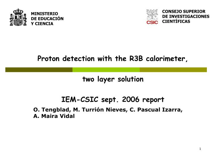Proton detection with the r3b calorimeter two layer solution iem csic sept 2006 report