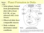 planet formation in disks