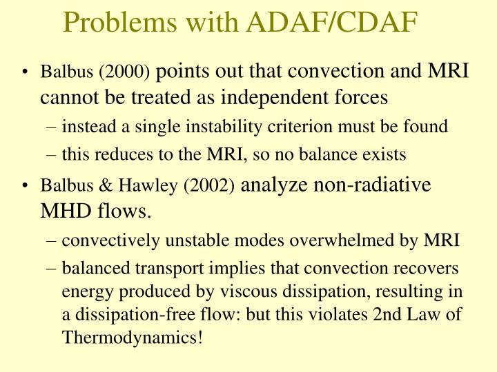 Problems with ADAF/CDAF